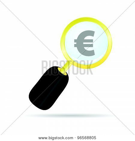 Magnifier With Euro Color Vector