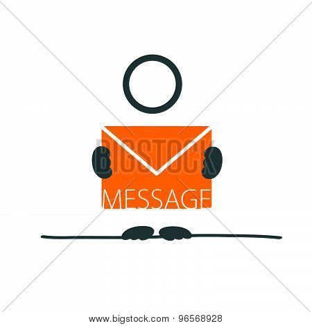 Man With Letter Envelope Color Vector