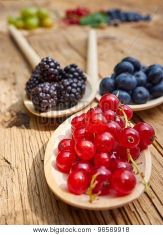 Currants and blueberries on a wooden table