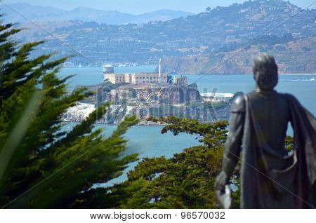 Statue Of Columbus Looks At Alcatraz Island San Francisco Bay