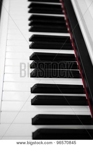 Piano keyboard close up