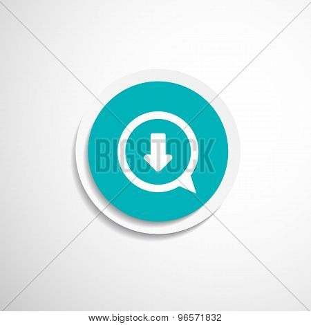 Arrow down bottom sign pictogram Vector symbol icon Simple flat metro design style