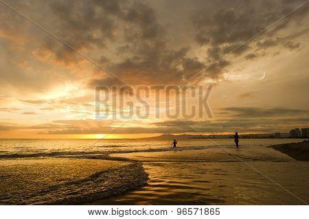 Beach Sunset Girls