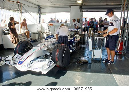 Rome, Italy - June 23 2007. Formula 1 Sauber Bmw Box