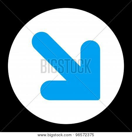 Arrow Down Right flat blue and white colors round button