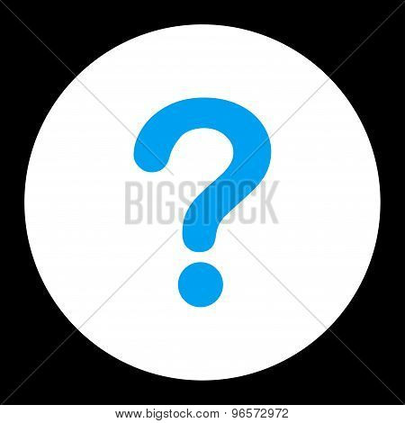 Question flat blue and white colors round button