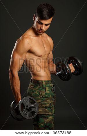 Athlete man exercises