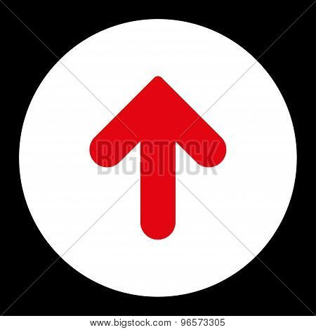 Arrow Up flat red and white colors round button