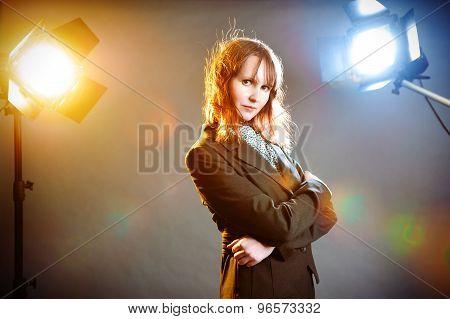 Business woman in studio atmosphere