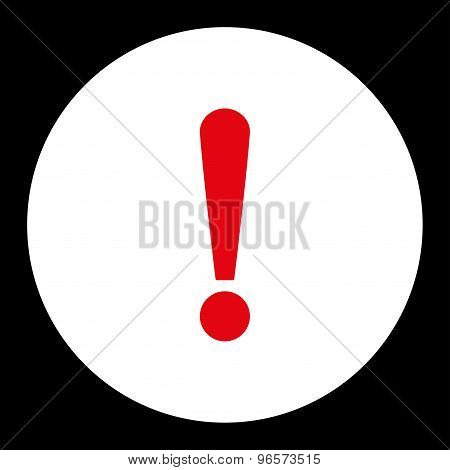 Exclamation Sign flat red and white colors round button