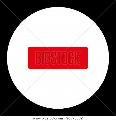 Minus flat red and white colors round button