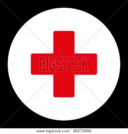 Plus flat red and white colors round button