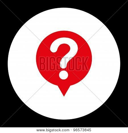 Status flat red and white colors round button