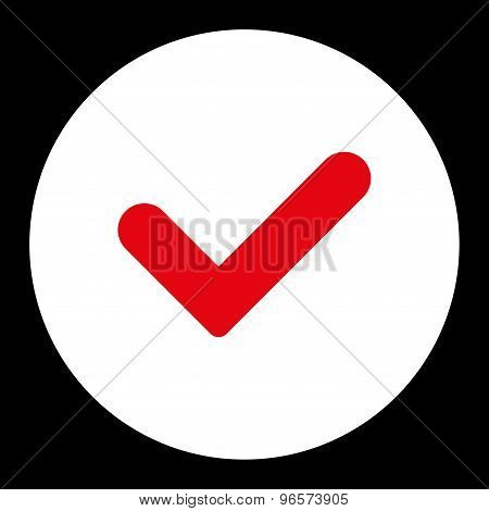 Yes flat red and white colors round button