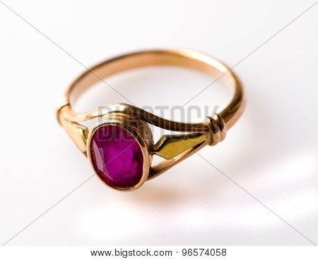 Gold Ring With Ruby Isolated On White Background
