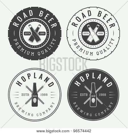 Set Of Vintage Beer And Pub Logos, Labels And Emblems With Bottles, Hops, Tires And Wheat