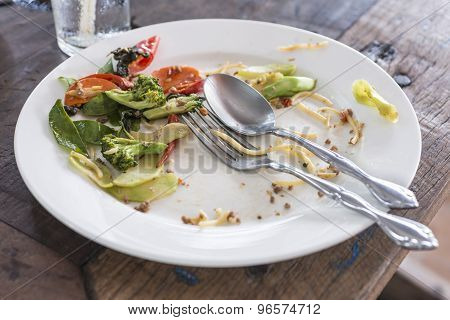 White Plate With Crumbs Food