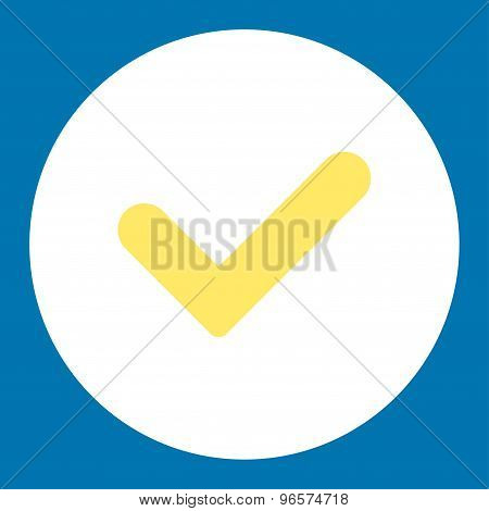 Yes flat yellow and white colors round button