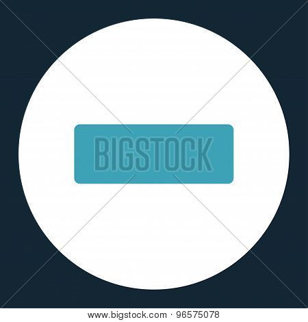 Minus flat blue and white colors round button