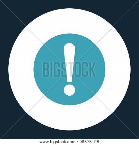 Problem flat blue and white colors round button