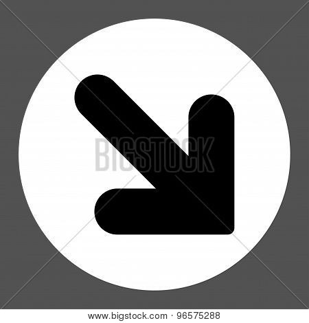 Arrow Down Right flat black and white colors round button