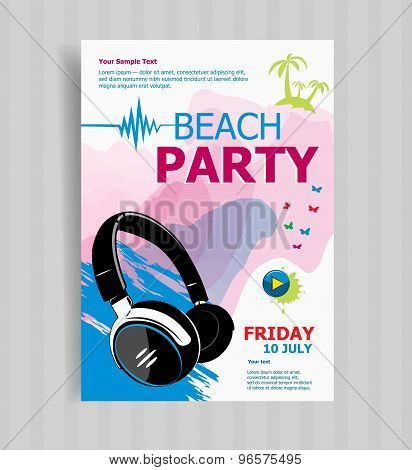 Summer Night Party Vector Flyer Template.