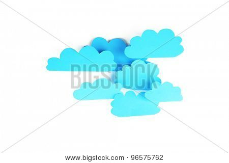 Blue paper clouds, isolated on white. Cloud computing concept.