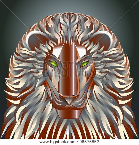 animals lion red technology cyborg  metal robot