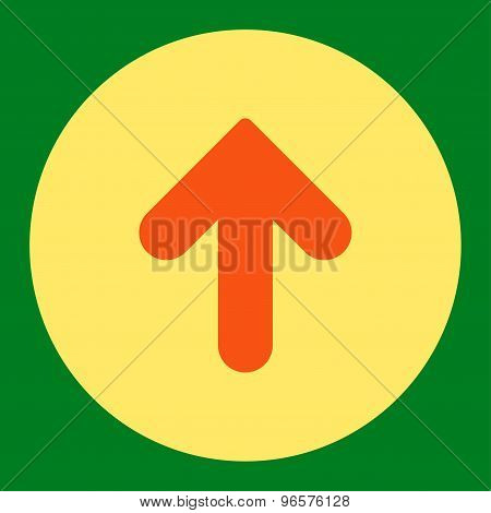 Arrow Up flat orange and yellow colors round button