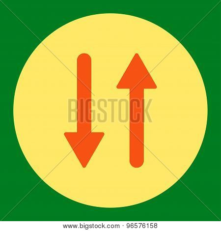 Arrows Exchange Vertical flat orange and yellow colors round button