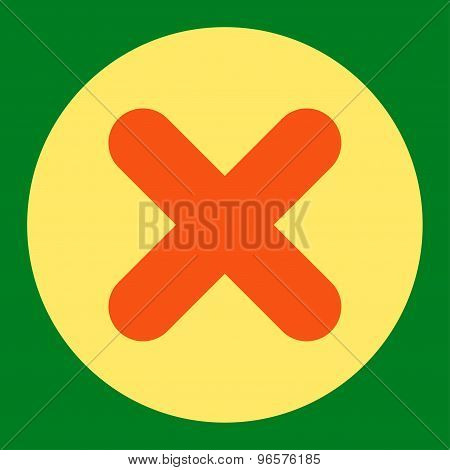 Cancel flat orange and yellow colors round button