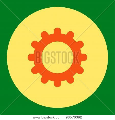 Gear flat orange and yellow colors round button