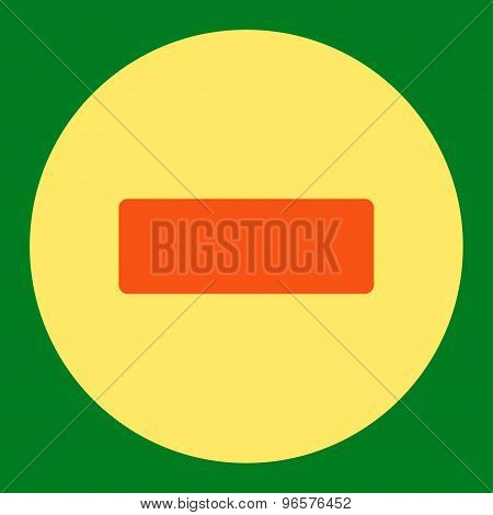 Minus flat orange and yellow colors round button