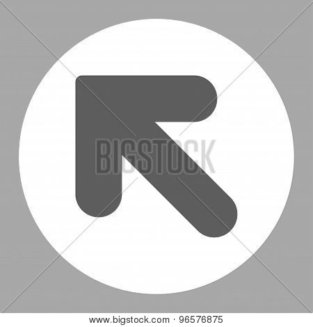 Arrow Up Left flat dark gray and white colors round button