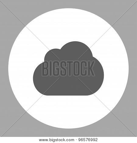 Cloud flat dark gray and white colors round button