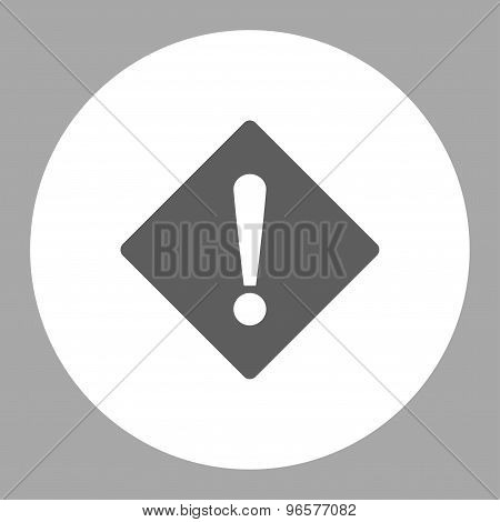 Error flat dark gray and white colors round button