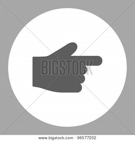 Index Finger flat dark gray and white colors round button