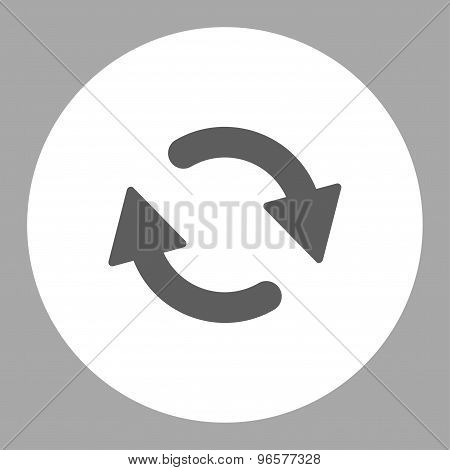 Refresh flat dark gray and white colors round button