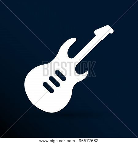 guitar icon with long shadow melody electric