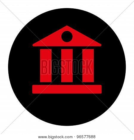 Bank flat intensive red and black colors round button