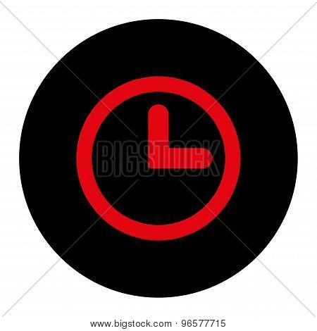 Clock flat intensive red and black colors round button