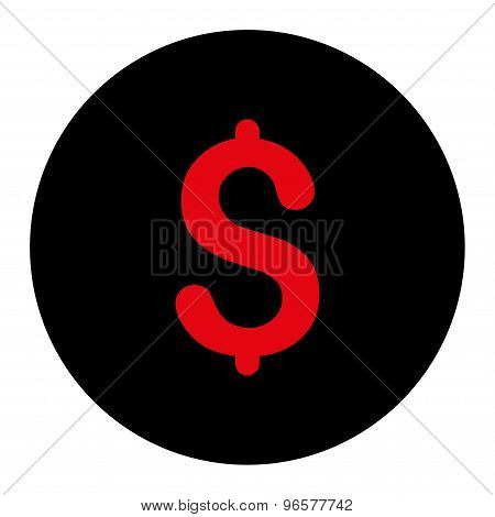 Dollar flat intensive red and black colors round button