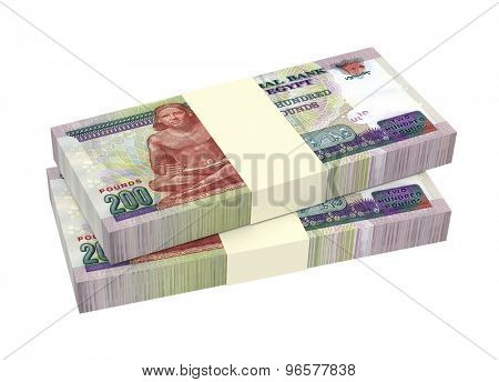 Egyptian pounds isolated on white background. Computer generated 3D photo rendering.