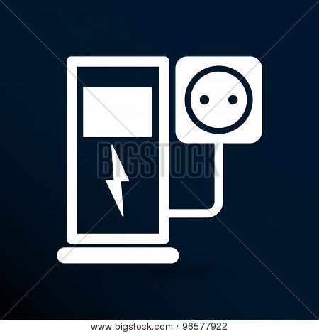 Electric energy supply for cars. Vector icons