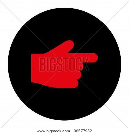 Index Finger flat intensive red and black colors round button
