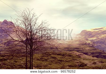3D illustration of mountainous landscape