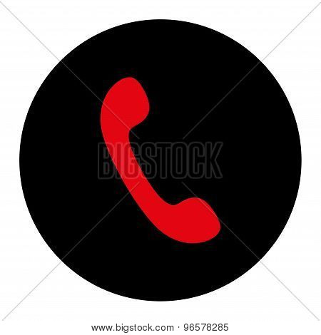 Phone flat intensive red and black colors round button