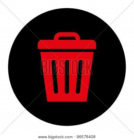 Trash Can flat intensive red and black colors round button