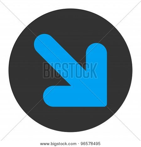 Arrow Down Right flat blue and gray colors round button