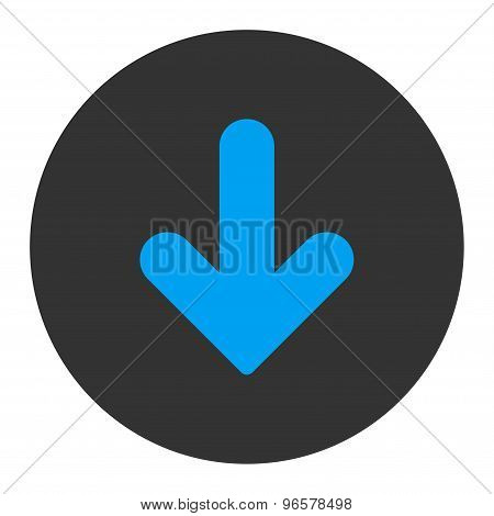 Arrow Down flat blue and gray colors round button